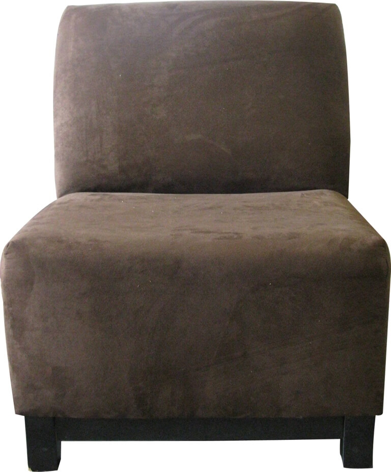 Sofa Chair, Armless Brown Suede