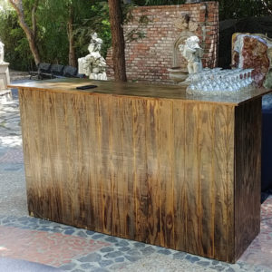 distressed wood panel bar rental